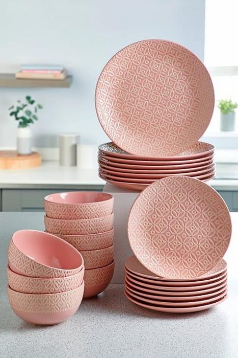 24-Piece Geo Print Stoneware Dinner Set