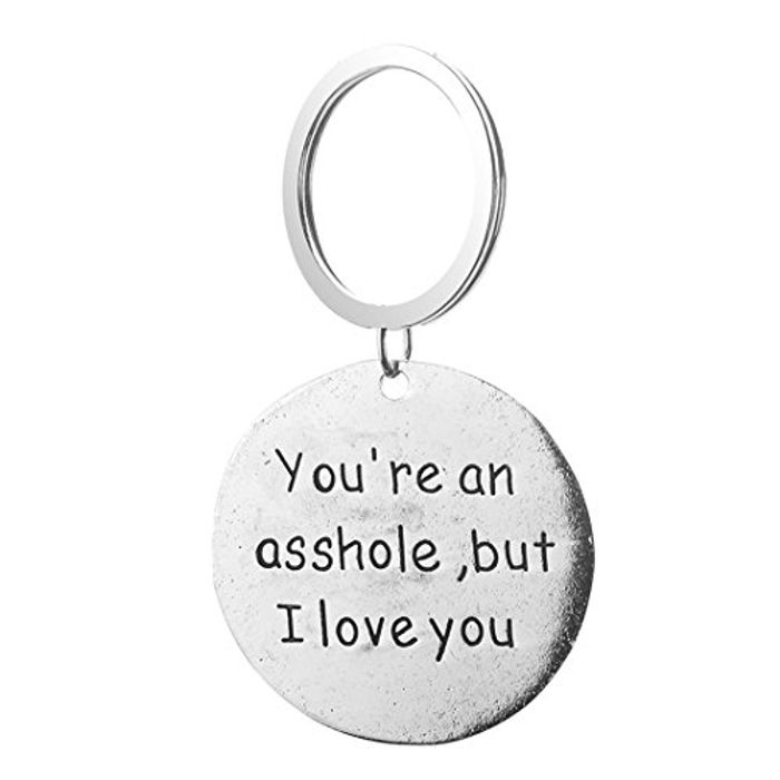 Underleaf Letter You're an Asshole but I Love You Personality Car Keychain