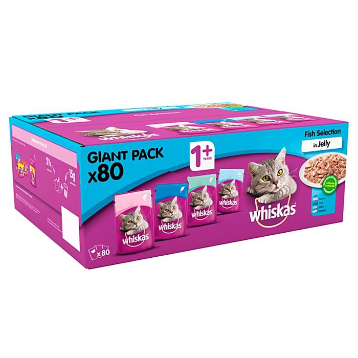 Whiskas 1+ Fish in Jelly Pouches Giant Pack (80 Pouches)