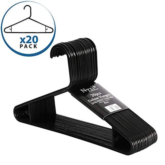 Nyxi Heavy Duty Adult Plastic Coat Hangers Set of 20