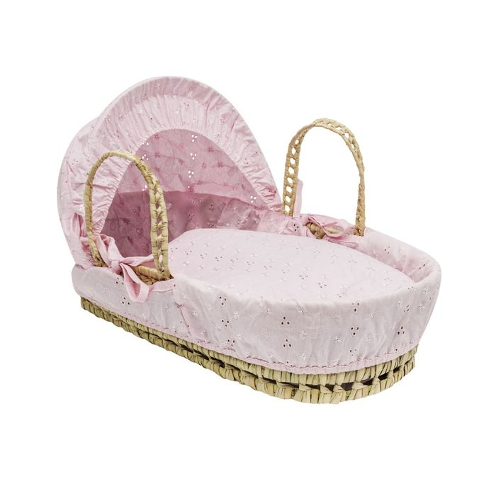 Special Offer - Kinder Valley Dolls Broderie Anglais Moses Basket Pink or White