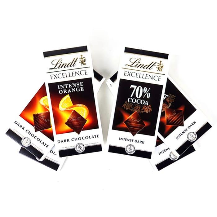 6 X Lindt Excellence Intense Orange & Dark 100g Chocolate Bars