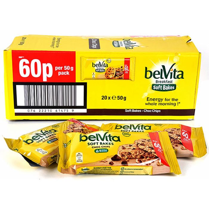 20 X Belvita Breakfast Soft Bakes Choc Chips 50g Bars