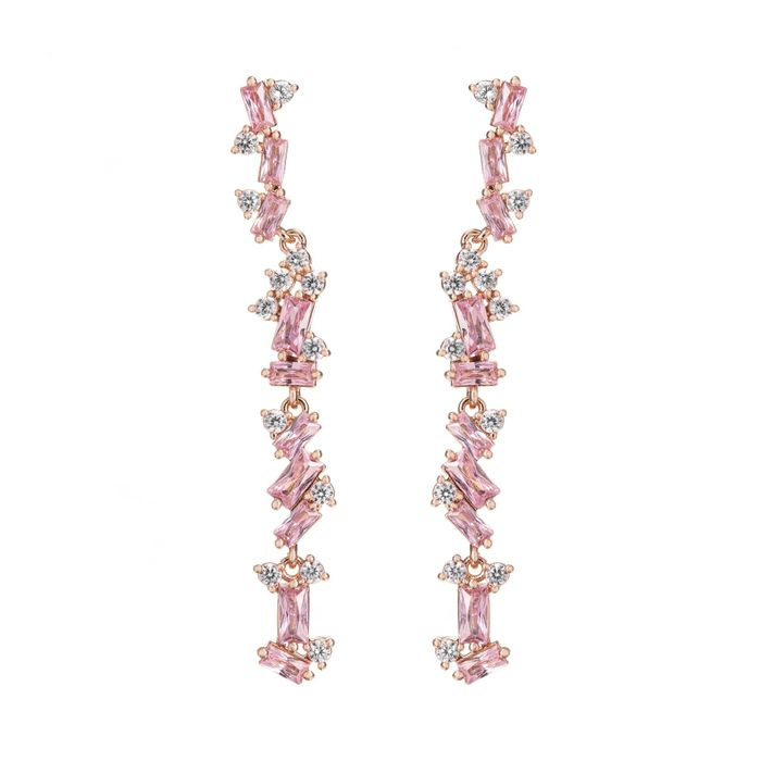 Best Price! Jon Richard - Rose Gold Plated Scattered Pink Stone Drop Earrings