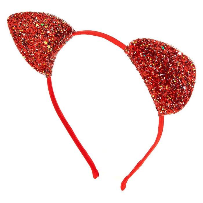 Iridescent Glitter Cat Ears Headband - Red