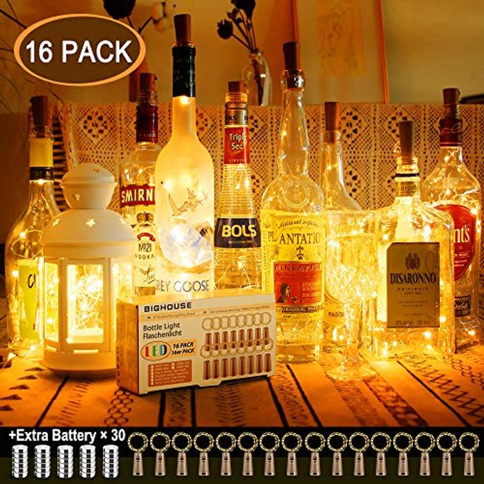 Bottle Lights with Cork, BIGHOUSE 16 Pack 2M 20 LEDs Wine