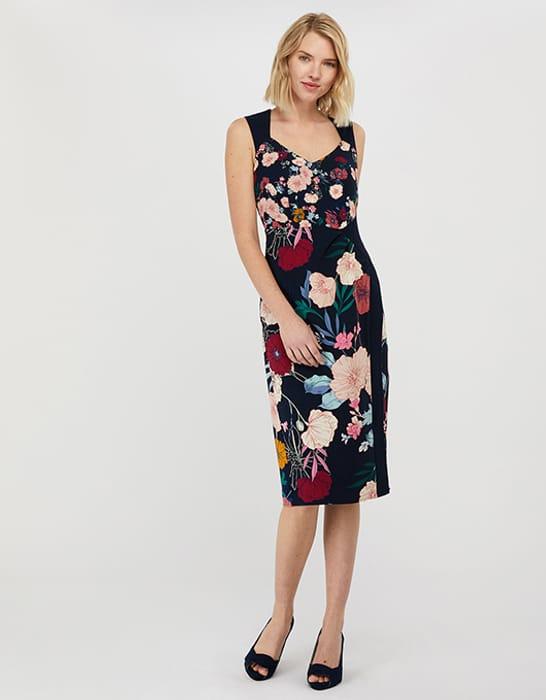 Frances Floral Shift Midi Dress