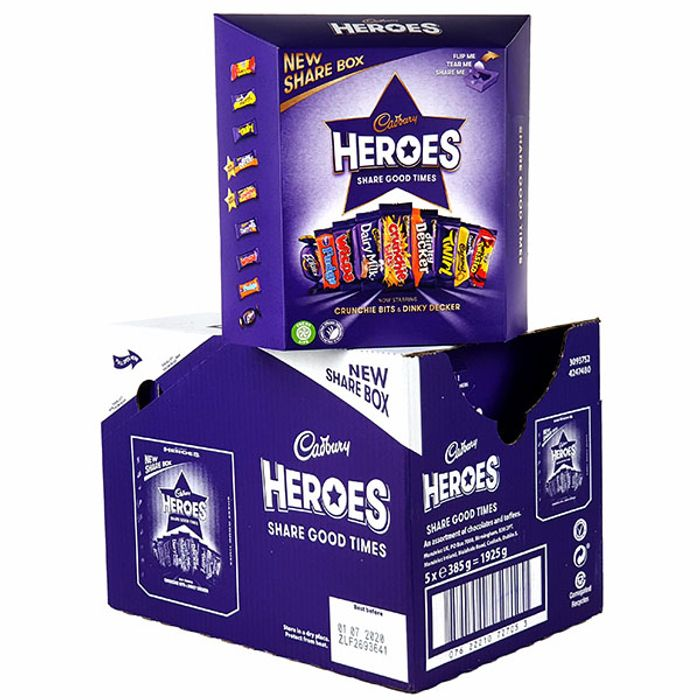 5 X Cadbury Heroes Share Boxes (Total 1925g)