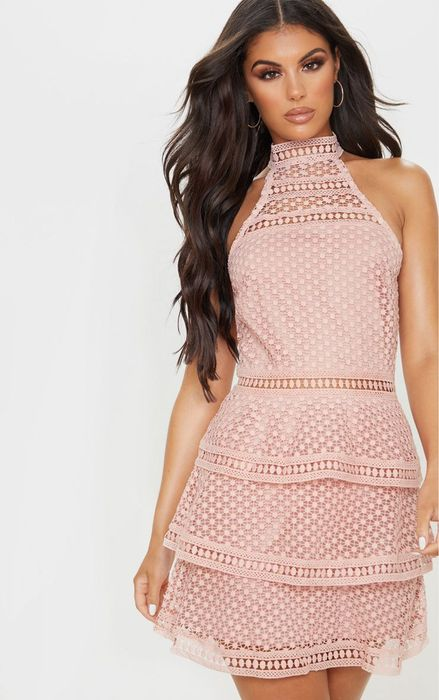 Dusty Pink Lace Panel Tiered Bodycon Dress