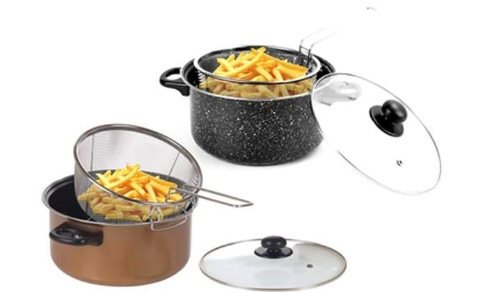 Black Marble or Copper Deep Fat Fryer 24cm Pan