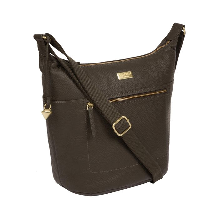 Cultured London - Olive 'Paula' Leather Cross-Body Bag