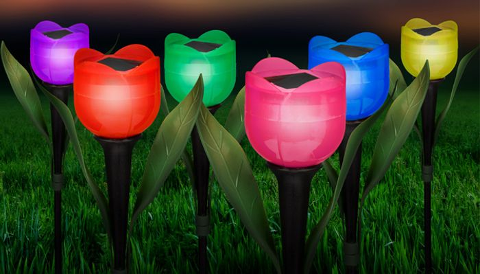 Multicoloured Solar Powered Tulip Lights - 6, 12 or 18