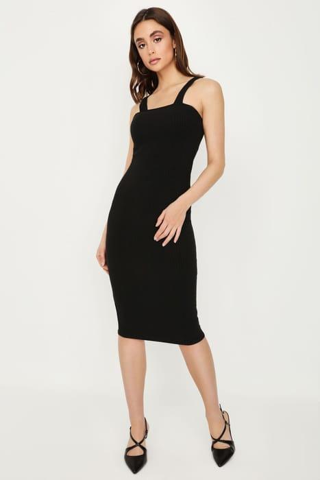 Black Basic Rib Midi Dress