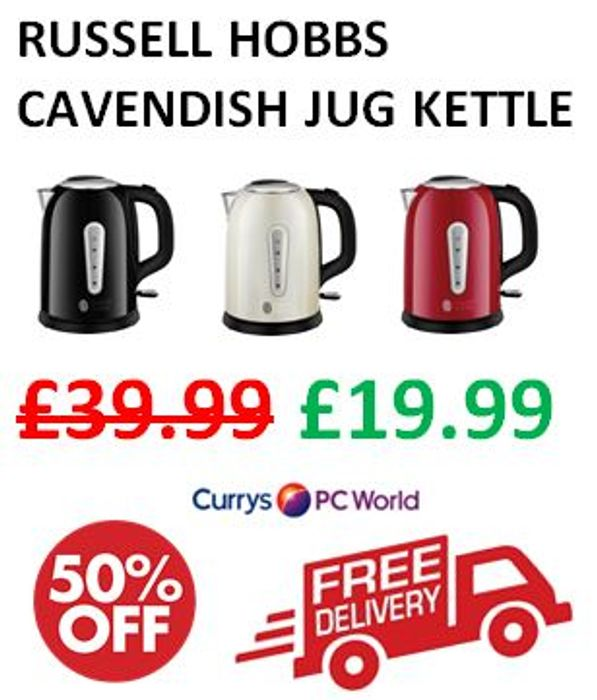 RUSSELL HOBBS Jug Kettle - HALF PRICE & FREE DELIVERY at CURRYS