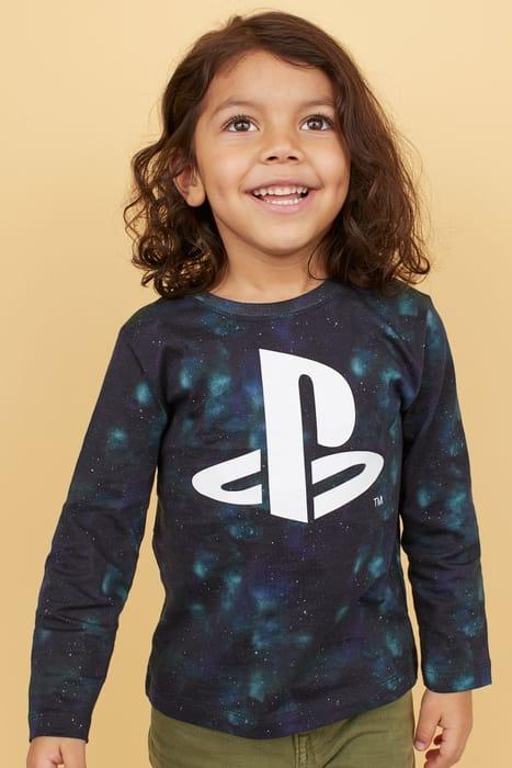 Boys Printed Jersey Top - Black/PlayStation