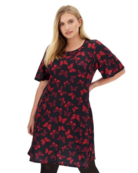 Butterfly Print Short Sleeve Swing Dress