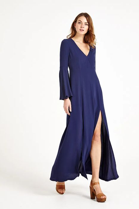 Valley of the Dolls Vallejo Fluted Sleeve Maxi Dress Navy