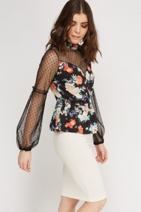 Sweetheart Floral Mesh Top