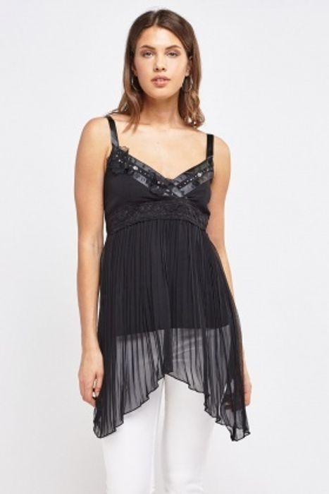 Encrusted Lace Trim Pleated Top