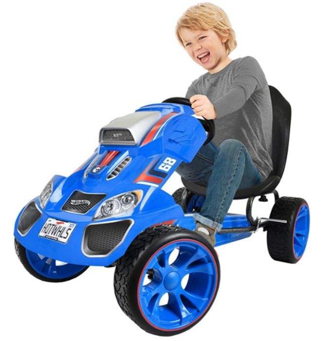 Hot Wheels XL Pedal Grow with Child Go-Kart (3-12yrs) - Blue