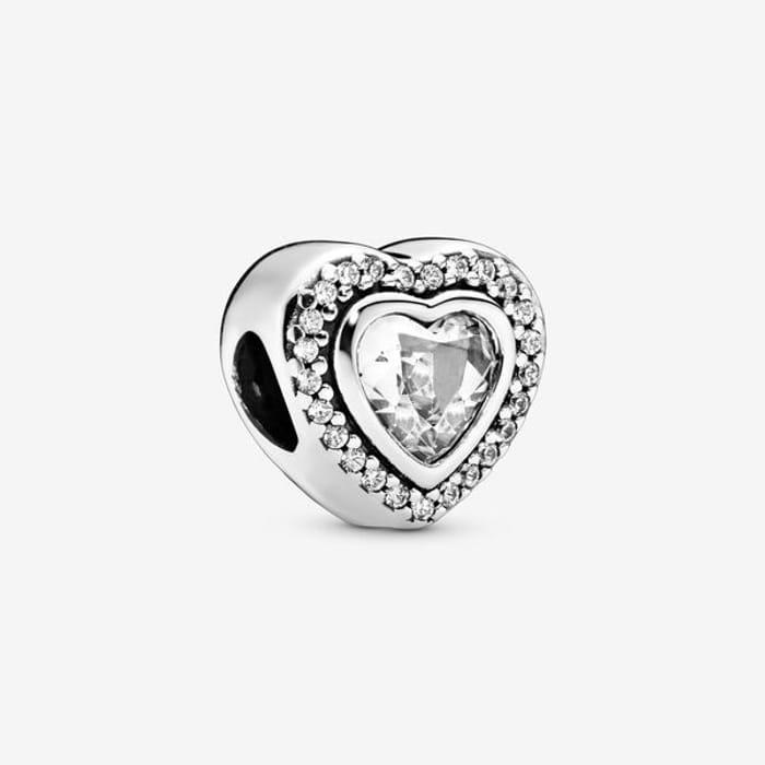 Pandora Sparkling Clear Heart Charm