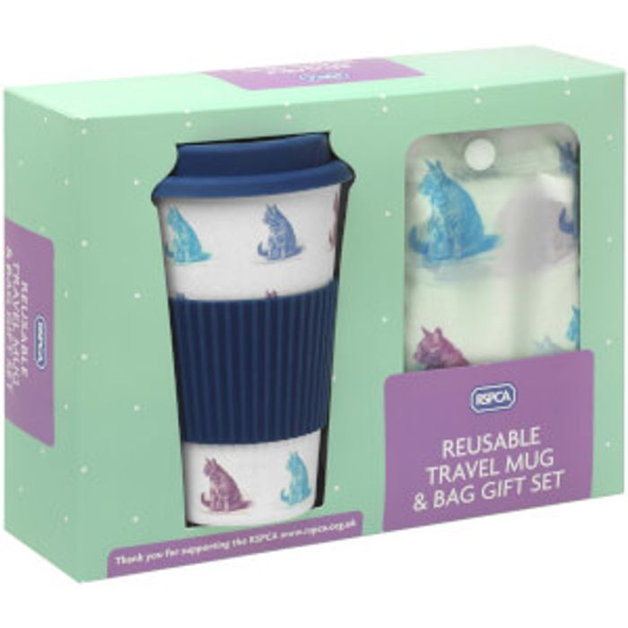 RSPCA Cats Travel Mug and Shopper Bag Gift Set