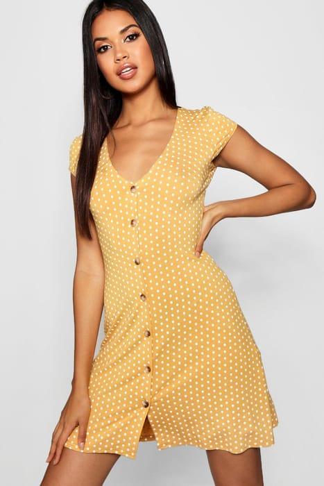 Cap Sleeve Button through Shift Dress