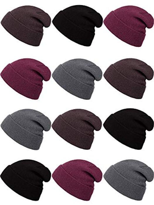 SATINIOR 12 Pack Kids Winter Beanie Hats