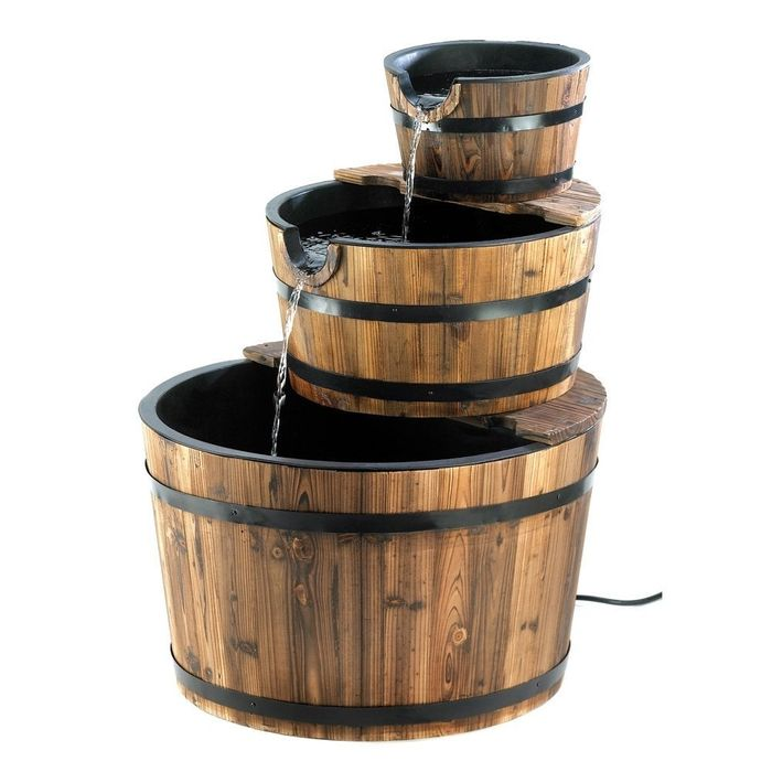 3-Tier Barrel and Pump Water Feature with Led Lights