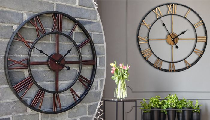 Giant Vintage Style Wall Clock - 3 Colours