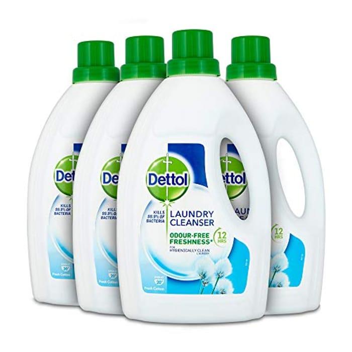 Dettol Antibacterial Laundry Cleanser Liquid, Multipack of 4 X 1.5 Litre