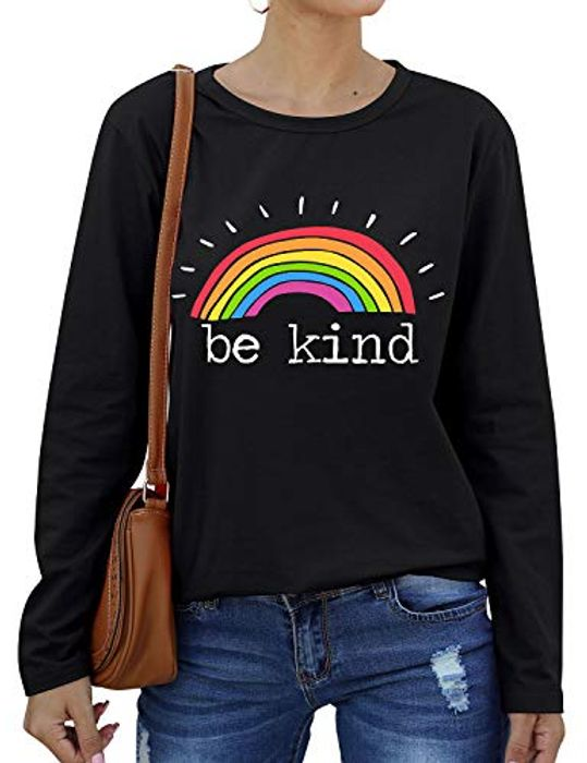 Be Kind Long Sleeved T Shirt with Promo Tab at Amazon