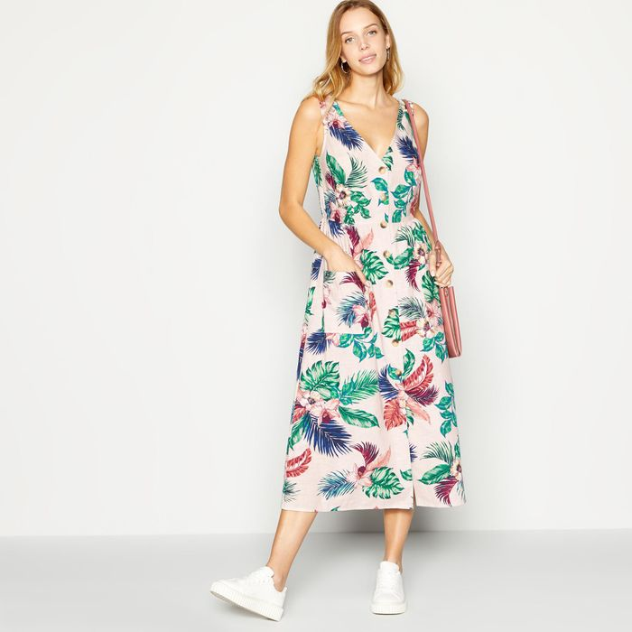 Principles - Rose Tropical Print Button through Midi Dress