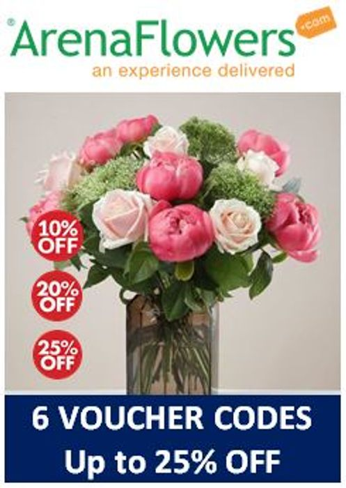 Special Offer - Arena Flowers 6 Discount Voucher Codes up to 25% OFF