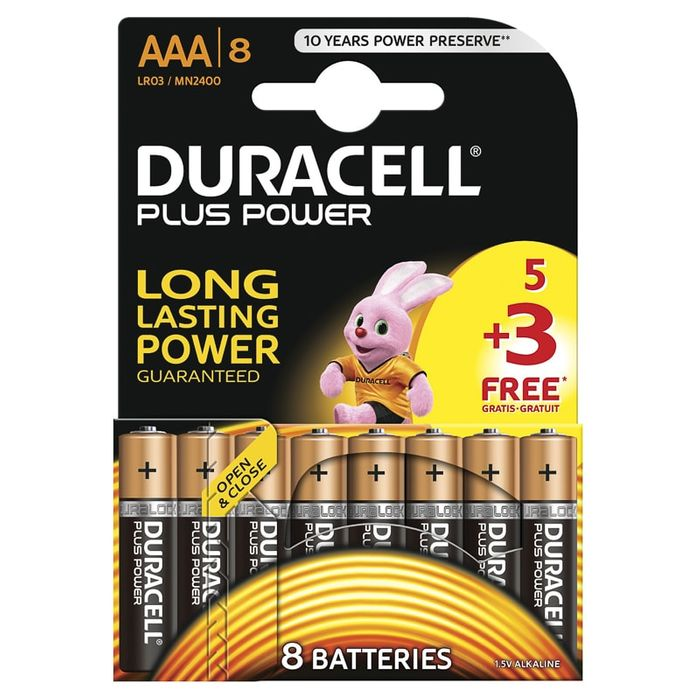 2 X Duracell 5+3 Free plus Power AAA Batteries 16 in Total