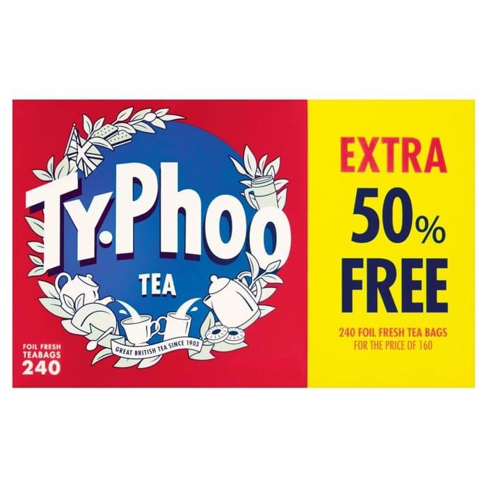 Special Offer! Typhoo Foil Fresh Tea Bags 160s + 50% FREE 240pk