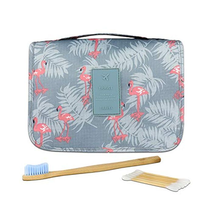 Foldable Travel Wash Bag Organiser with Bamboo Toothbrush and Buds