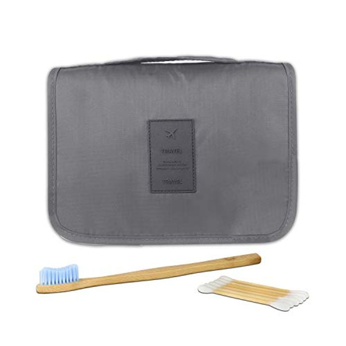 Save 70%-Travel Wash Bag with Bamboo Toothbrush & 50 Cotton Buds
