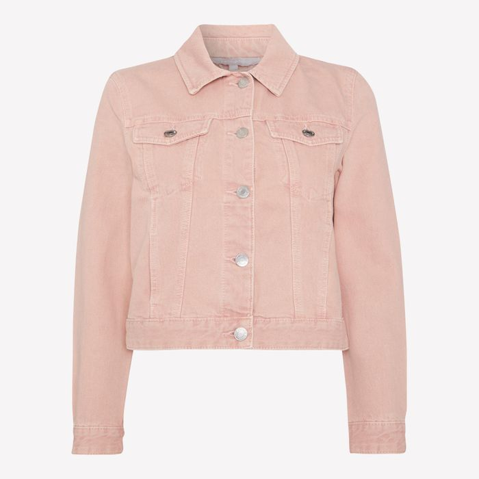 Red Herring - Pink Cotton-Blend Cropped Denim Jacket