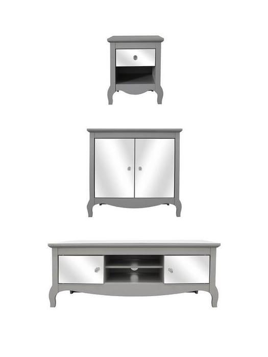 3 Piece Mirrored Furniture Set