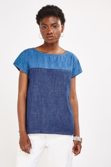 Two Tone Short Sleeve Denim Top HALF PRICE