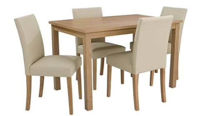 120cm Table + 4 Faux Leather Chairs - 3 Colours at Very
