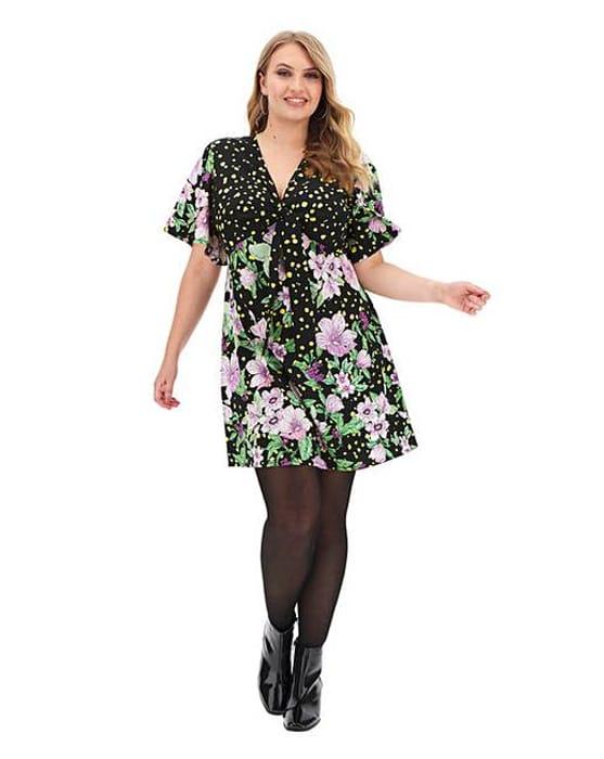 Black Floral Print Tea Dress - Only £9.5!