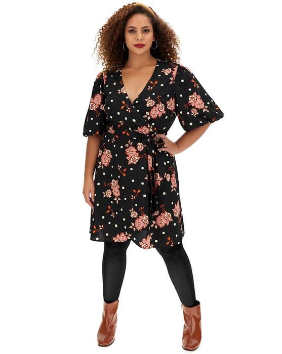 Floral Spot Puff Sleeve Wrap Skater Dress - Save £15
