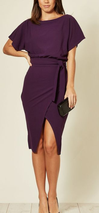 Purple Judith Wrap Front Batwing Dress - Only £8!