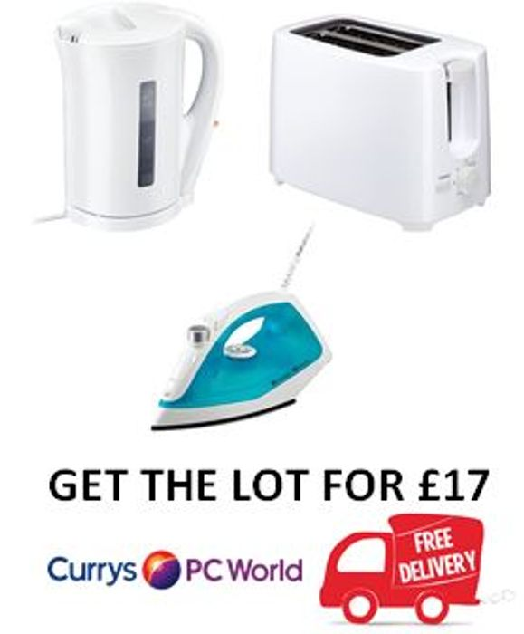 Currys Essentials Bundle - Steam Iron + Kettle + Toaster £17 + FREE DELIVERY!
