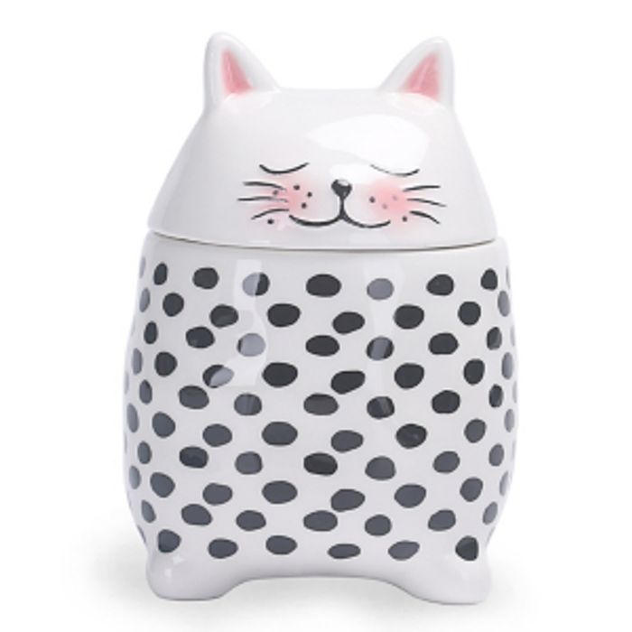 White Small Cat Shaped Canister