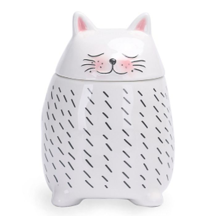White Medium Cat Shaped Canister