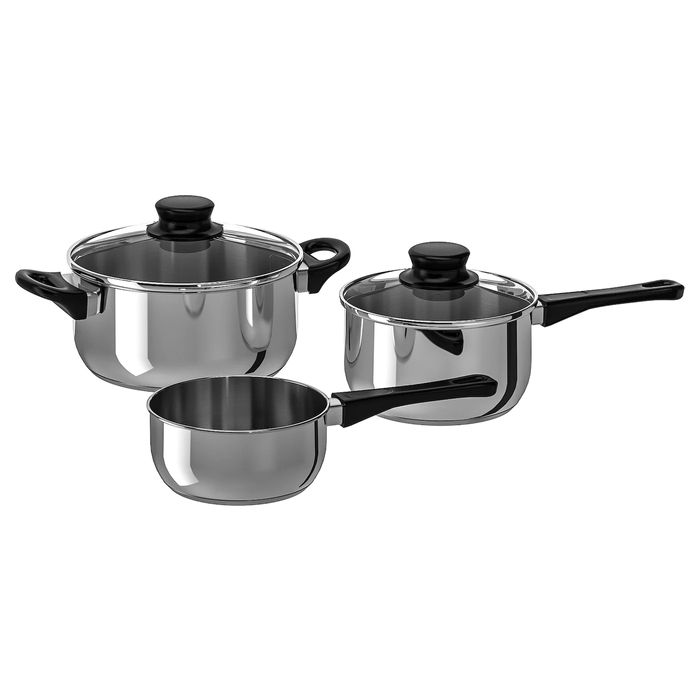 Best Price! ANNONS 5-Piece Cookware Set, Glass, Stainless Steel