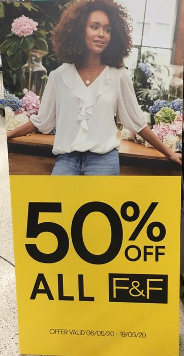 50% off All Clothing In-Store at Tesco (F&f)